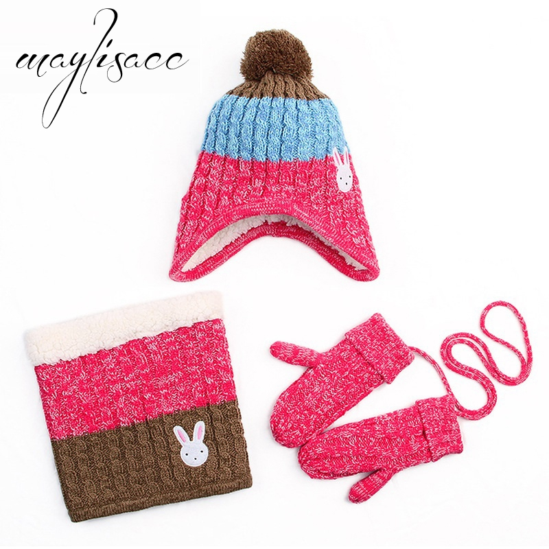 Maylisacc Hot Sell 3 Pcs/set Kids Autumn Winter Warm Knitted Hat With Scarves Mittens For Children 1-12 Years Old Boys Girls Set
