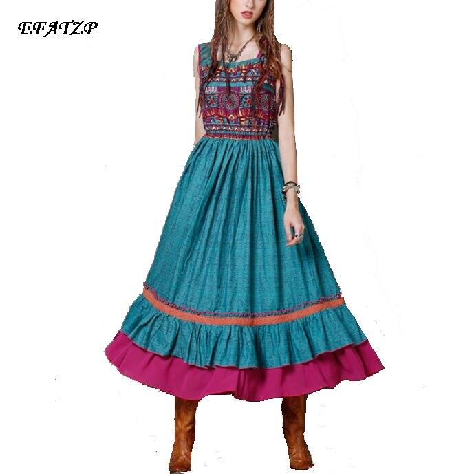 High Quality New 2017 Summer Bohemia Long Dress Women s Cotton Linen Colorful geometric Printed Sleeveless