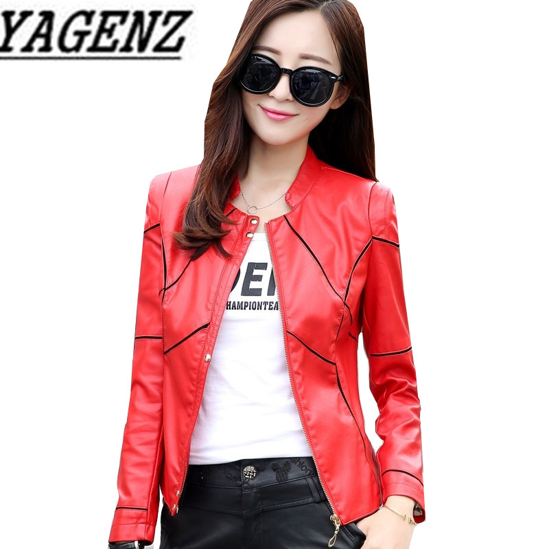 Big size 4XL Women PU   leather   Jacket Short Outerwear Spring Autumn Slim Stand collar Faux   leather   Jacket Motorcycle Cool Coat