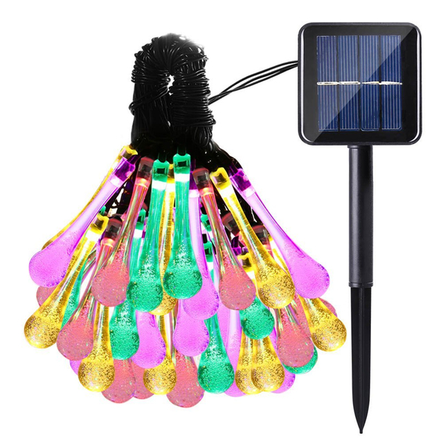 Solar Outdoor String Lights, 30 LED Water Drop Solar String Fairy Waterproof Lights Christmas Lights Patio Christmas