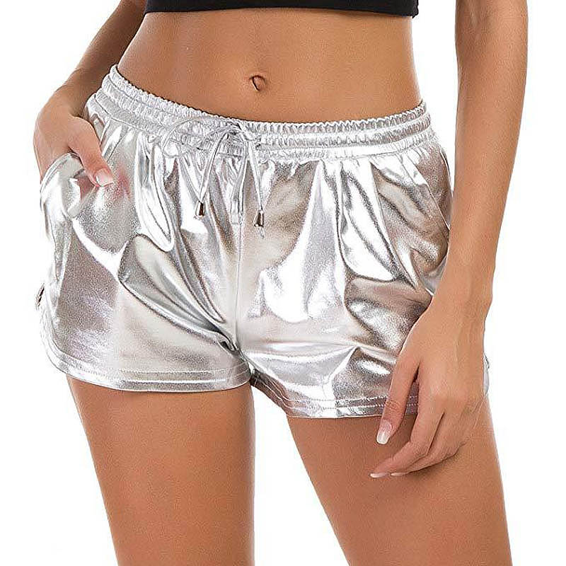Summer PU Leather Road Shorts Solid Casual Short Femme Female Celebrity Party Club Women Elastic Waist Bright Shorts Plus Size