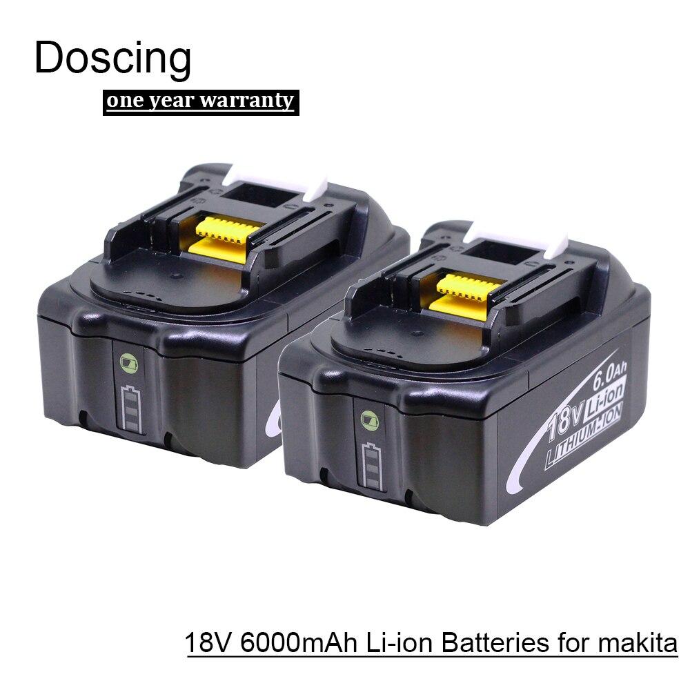 Doscing 2 pièces 18 V 6000 mAh BL1860 Lithium ion Batterie De Remplacement avec indicateur LED pour Makita BL1850 BL1840 BL1830 BL1850 BL1860