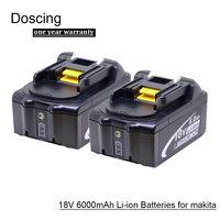 Doscing 2Pcs 18V 6000mAh BL1860 Lithium ion Replacement Battery with LED Indicator for Makita BL1850 BL1840 BL1830 BL1850 BL1860