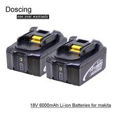 Doscing 2 pièces 18 V 6000 mAh BL1860 Au Lithium ion batterie de rechange avec indicateur led pour Makita BL1850 BL1840 BL1830 BL1850 BL1860