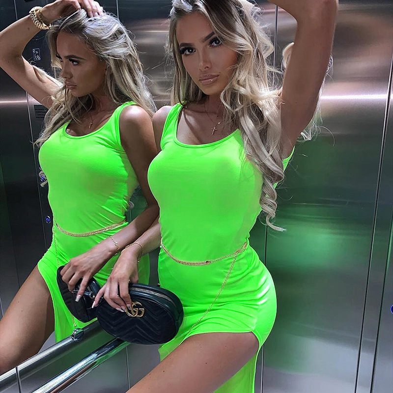 SKMY Neon Green Orangecotton Spaghetti Strap High Waist Sexy Dresses Summer Women 2019 New Fashion Solid Club Dress