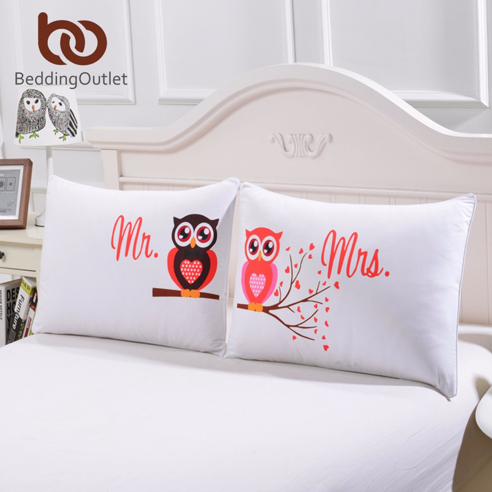 BeddingOutlet Body Pillowcase Mr And Mrs Owls Romantic