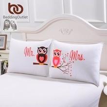 Beddingoutlet almohada consejo de sr. y sra. búhos funda de almohada suave almohada cubierta regalo del día de san valentín romántico textiles para el hogar de una par