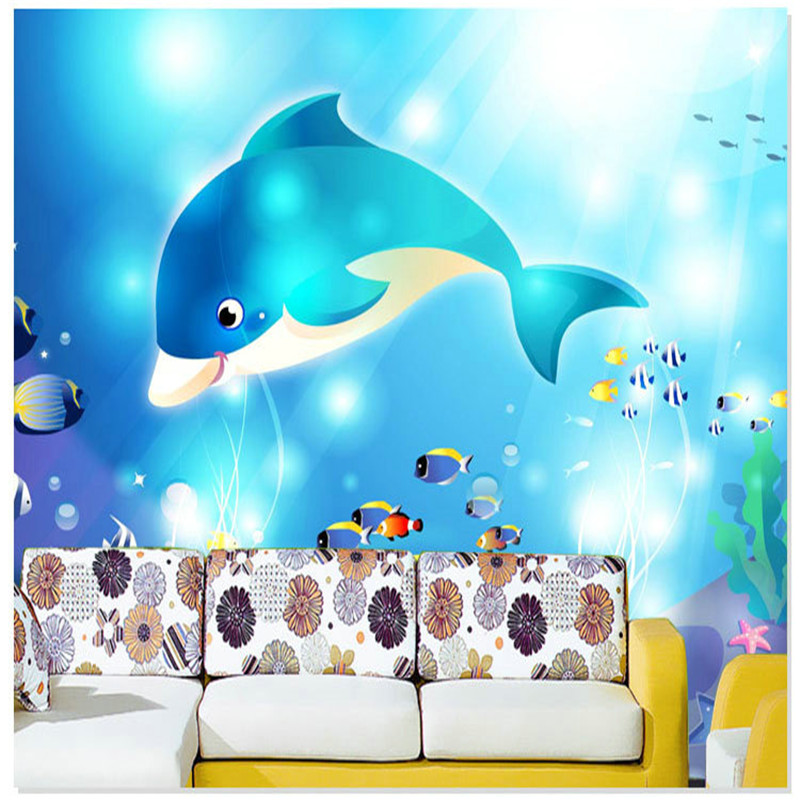 Free shipping Dolphin child boy tv background wallpaper mural non-woven cartoon painting,wallpaper kids αυτοκολλητα τοιχου καθρεπτησ