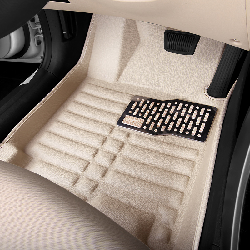 Car floor mats for focus, car mat black beige gray brown car floor mats covers top grade anti scratch fire resistant durable waterproof 5d leather mat for ford focus car styling