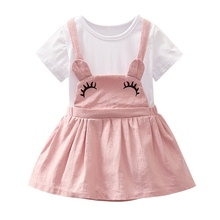 Summer Baby Girl Princess Dress Fake 2 Piece Toddler Big Eye Pattern Short Sleeve Dresses girl dresses new surprise cartoon pattern flying sleeve big eye doll children s dress