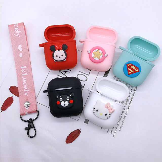 online retailer c2246 cd963 US $2.92 |Cute DIY Silicone Case for Apple Airpods Accessories for i10 TWS  Bluetooth Earphone Protective Cover Cartoon Bag Anti lost Strap-in Earphone  ...