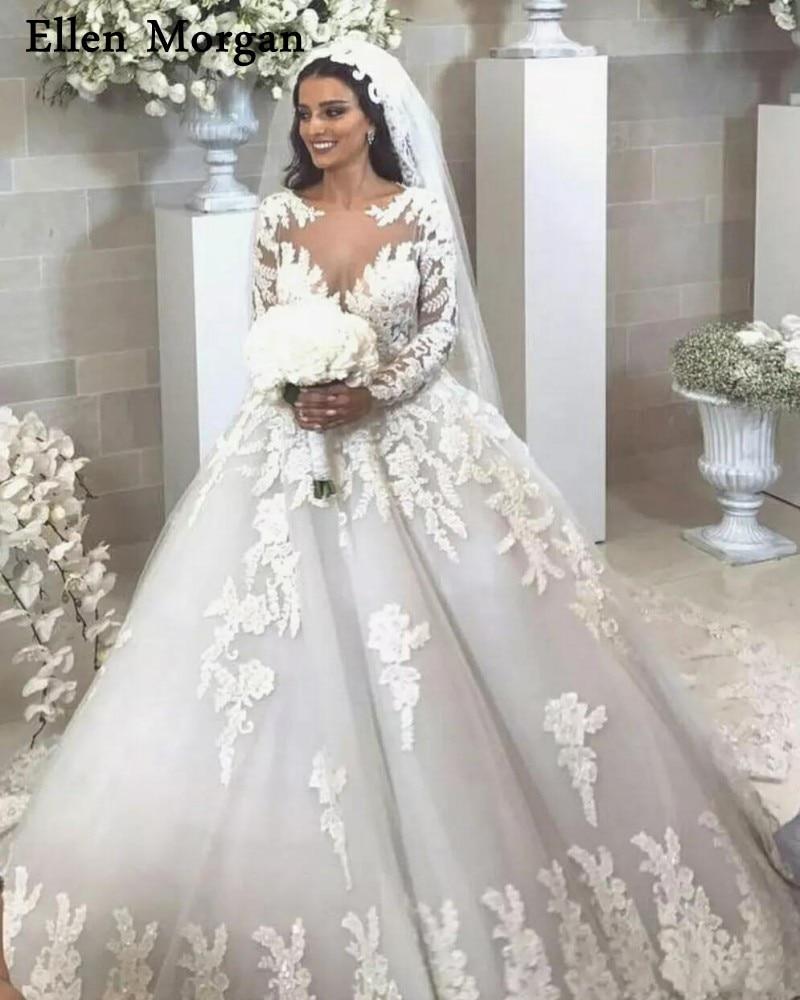 Risque Wedding Dress Photos: Saudi Arabia Long Sleeves Ball Gowns Wedding Dresses Tulle