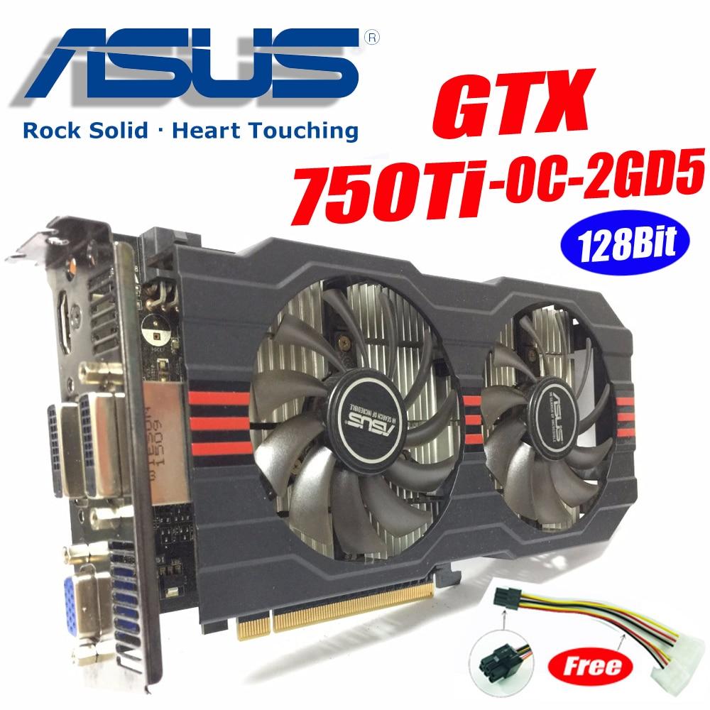 Asus GTX-750TI-OC-2GD5 GTX750 GTX750TI GTX 750TI 2g DDR5 128Bit PC De Bureau Graphique vidéo Cartes PCI Express3.0 GTX 750 ti