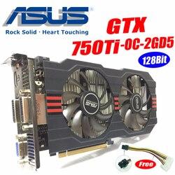 Asus GTX-750TI-OC-2GD5 gtx750 gtx750ti gtx 750 ti 2g ddr5 128bit placa de vídeo do desktop do computador placas de vídeo pci express3.0 gtx 750 ti