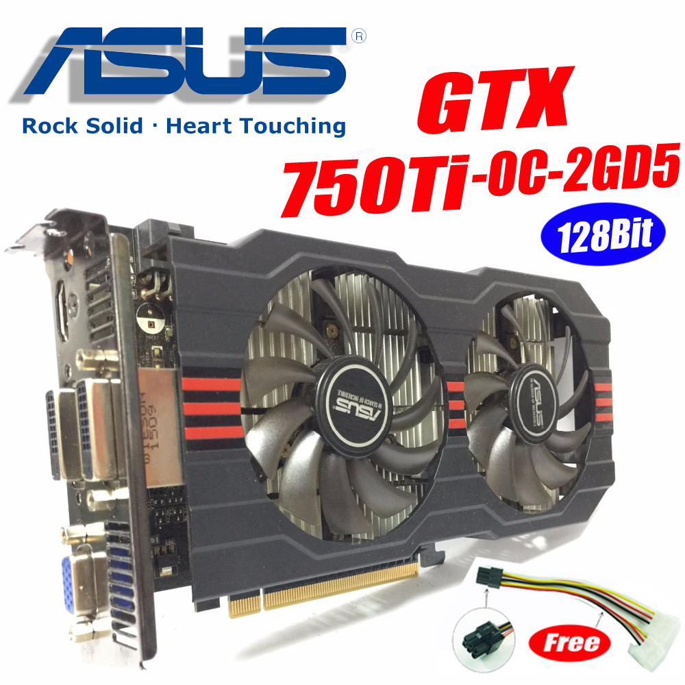 Asus GTX-750TI-OC-2GD5 GTX750 GTX750TI GTX 750TI 2g DDR5 128Bit PC Desktop Grafiken video Karten PCI Express3.0 GTX 750 ti