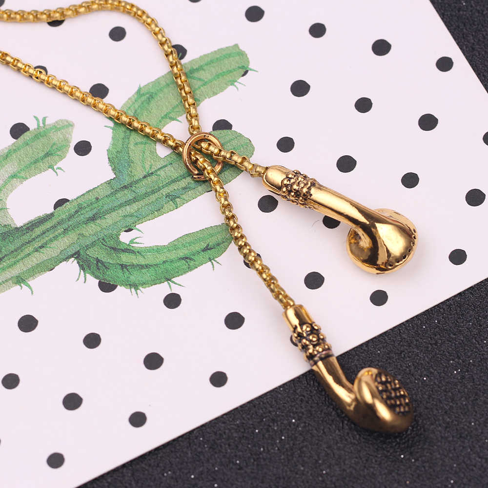 Słuchawki naszyjnik Hiphop dla miłośników muzyki zestawy słuchawkowe biżuteria akcesoria unikalne długie ogniwo łańcucha prezenty dla kobiet mężczyzn