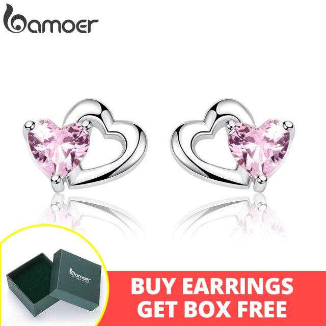 BAMOER 925 пробы Серебро Двойное сердце к сердцу розовый CZ серьги гвоздики для женщин Brincos Ювелирные украшения Bijoux SCE090