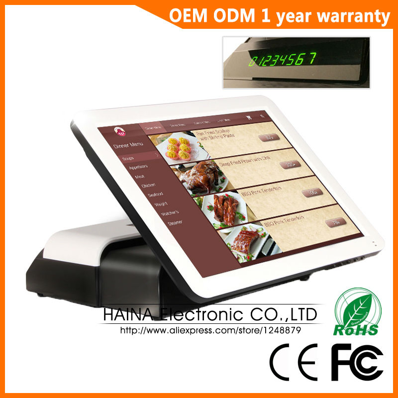 Haina Touch 15 inch Touch Screen Supermarket Cash Register POS System With Customer display