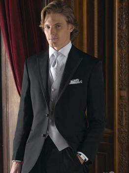 Wholesale Two Button Peak Lapel Groom Tuxedos Groomsmen Men's Wedding Prom Suits (Jacket+Pants+Vest+Tie) NO:073