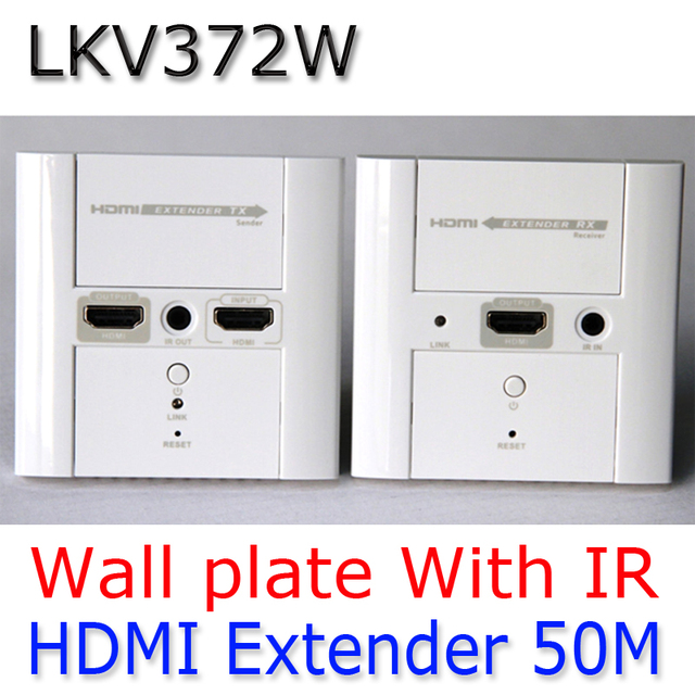 50M HDMI Wall-plate Extender Converter,Video/Audio Extender Cat6 1080P,IR Remote Wall plate HDMI Extend LKV372W