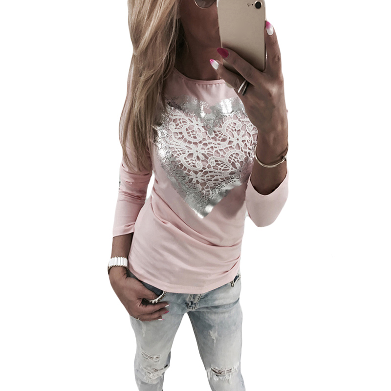 17 Best Images About Women S Fashion That I Love On: Spring Long Sleeve T Shirt Women 2017 Fashion Love Heart