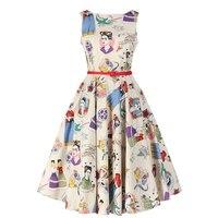 Women Summer Dress 50s Pinup Vintage Audrey Hepburn Style Frida Slash Neck Casual Rockabilly Dress Party
