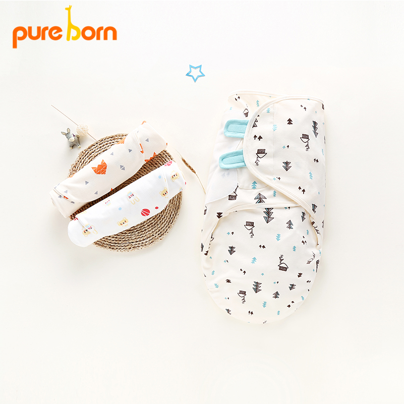Pureborn Infant baby receiving blankets Cartoon Fox wrap baby stuff for newborn Swaddle baby photography accessories new baby