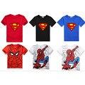 Hot Sale 2017 T-shirt do Menino Spiderman Superman Cotton Curto-de mangas compridas T-shirt Dos Desenhos Animados das Crianças das Crianças Meninos Criança roupas