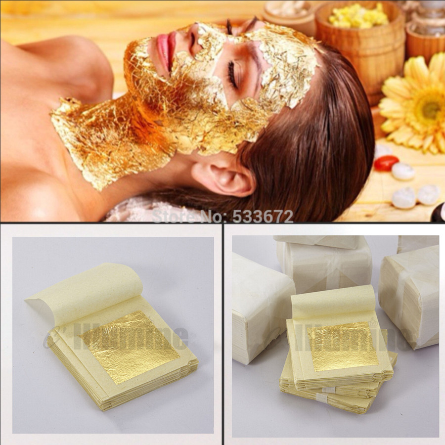 50sheets 4.33*4.3cm Gold Foil Mask Sheet Spa 24K Gold Face Mask Beauty Salon Equipment Anti-Wrinkle Lift Face Beauty Care