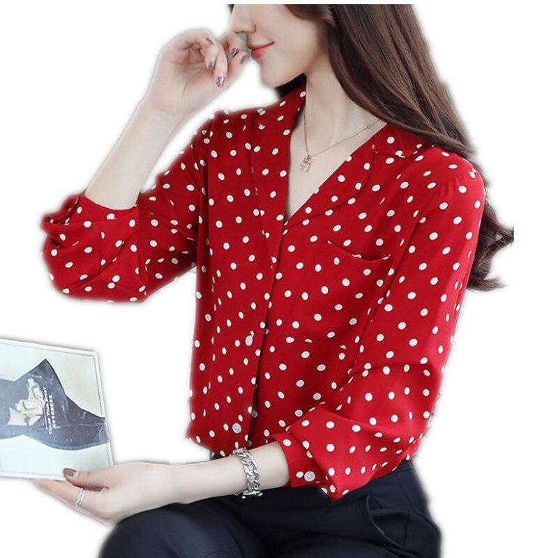 white Dot Corta Mujer 2019 Cq2850 Moda Manga V Con Camisas De Primavera Cuello Blusa Polka Tops Red Corte Gasa Y En Vintage Larga Slim Blusas qw4UxS4E