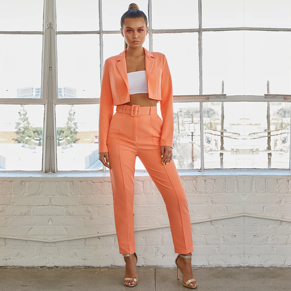 Adyce 2019 New Autumn Women Club Celebrity Evening Party Sets Vestidos Green Orange Tops&Pant 2 Two Piece Set Night Out Club Set