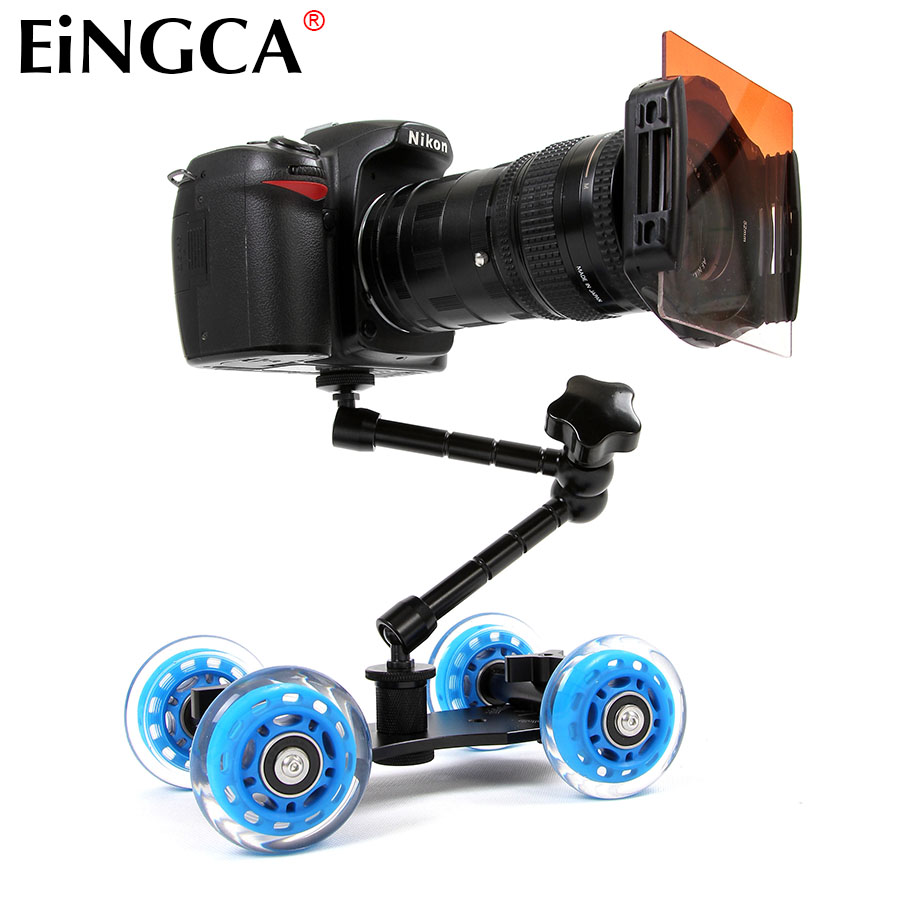 Mini Desktop Kamera Rail Car Table Dolly Video Slider Track for Canon Nikon D5300 D7100 D600 60D 5DII 5DIII 7D DSLR Tilbehør