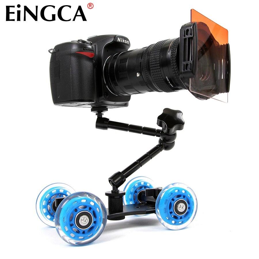 Mini cámara de escritorio carril de mesa de coche Dolly Video deslizador pista para Canon Nikon D5300 D7100 D600 60D 5DII 5 DIII 7D DSLR Accesorios