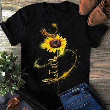 Hippie Dragonfly And Sunflower Let It Be T Shirt Black Cotton Men S 4Xl Us Stock