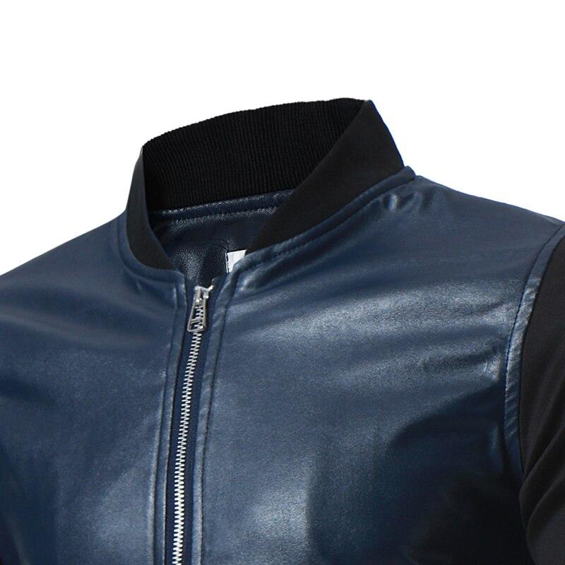 La Abrigo blue M 3xl Adelgazan Black Hombres Cuero Nueva Collar Hombres Ajuste Gran Chaqueta Ocasionales Ropa Primavera Tamaño 2018 Los De Stitch ZS1EqwEnU