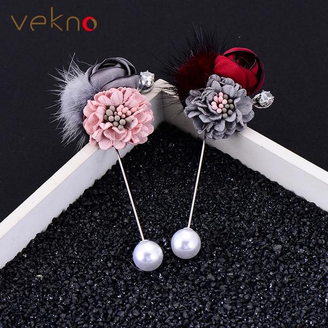 VEKNO ручной работы ткань роза цветок брошь с мм Hairball 10 мм имитация жемчуга нагрудные булавки для мужчин костюмы платье Свадебные аксессуар жениха
