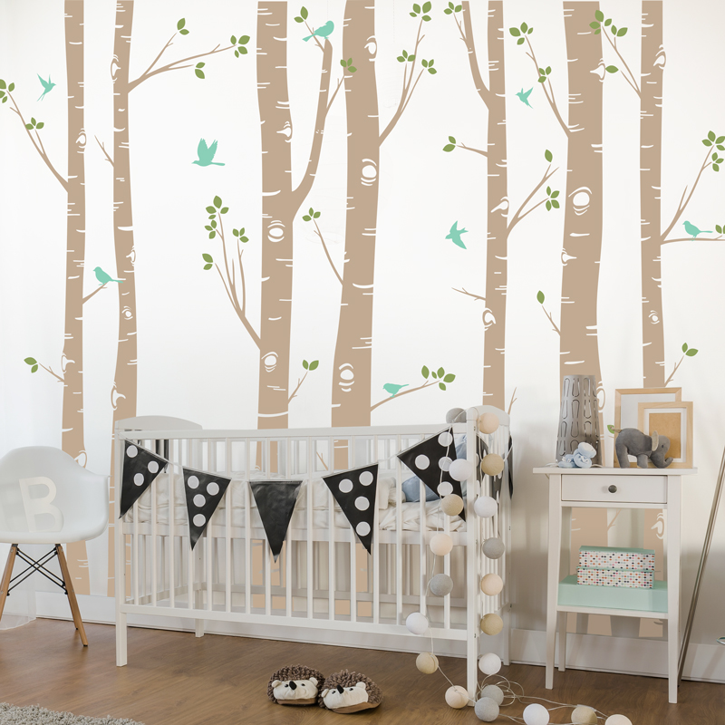 ГОРЯЧАЯ огромный белое дерево наклейки на стену набор из 7 березы с птицами в 3/2 цвета детские наклейки на стену в детскую Декор в гостиную ZA320 - 2