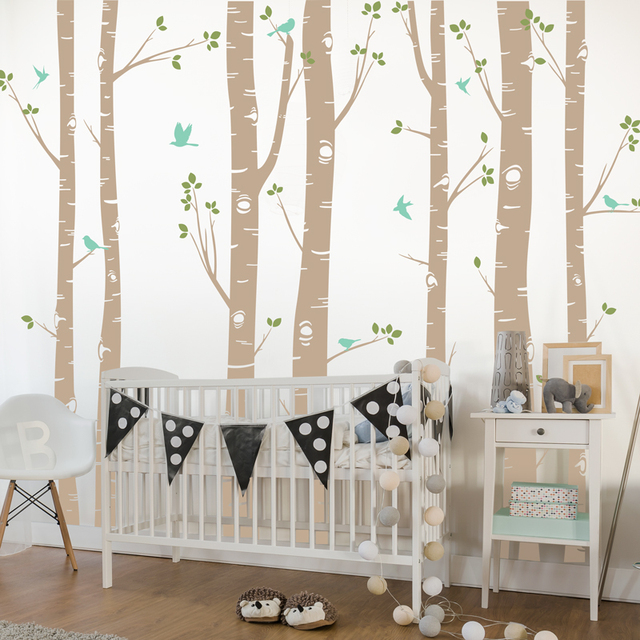 Hot Huge White Tree Wall Stickers Set Of 7 Birch Trees With Birds In 3/