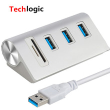 Techlogic USB HUB 3.0 High Speed Aluminum 3 Port Power Interface with TF SD Card Reader for MacBook Air Laptop PC Power Adapter orico a3h10 sv high quality with power adapter aluminum 10 port usb 3 0 hub silver