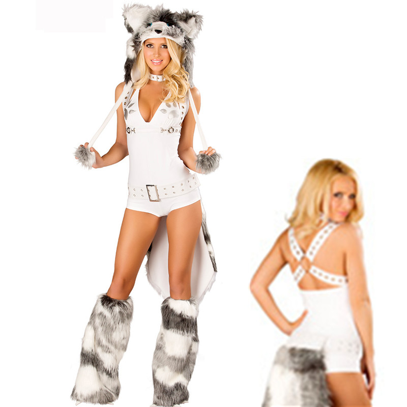 Women Sexy Carnival White Cat Fur Costume Cosplay Adult Fashion Party Wolf Costume fluffy cosplay halloween party cat faux fox fur ears costume hairpin hairband black white purple leopard black