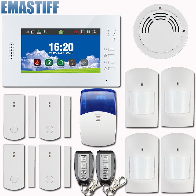 GSM Wireless Home Alarm System Touch Panel with Full touch screen 868mhz alarm ,support wireless smart sockert 868mhz wireless gsm alarm system 7 inch touch screen home alarm with bulit in lithium battery with wireless outdoor solar siren