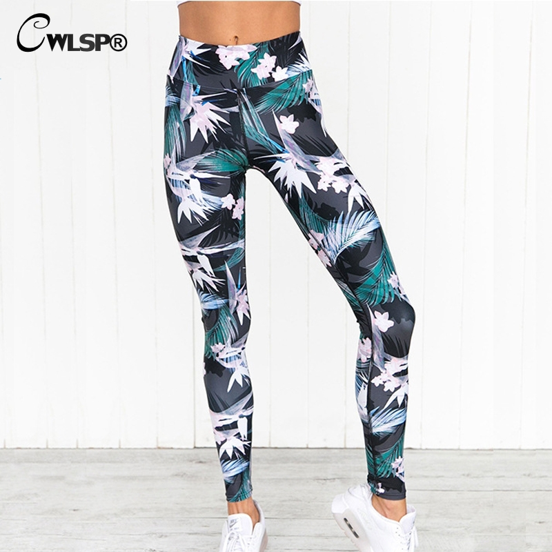 CWLSP Floral Print Fitness Leggings Women Workout jeggings Stretchable Pants christmas legging Trousers feminina academia QA2085