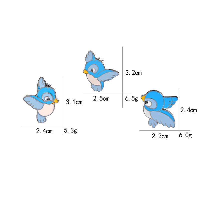 Kartun Biru Burung Bros Lucu Enamel Tiga Burung Hewan Pin Tombol Ransel Denim Jaket Pin Kerah Lencana Perhiasan untuk anak-anak