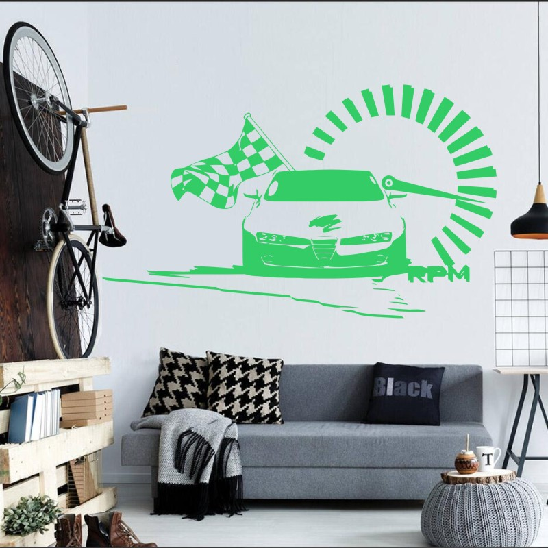 US 4040 40% OFFRacing Car Wiht Checked Flag Wall Decals Nascar Speed Racing Art Vinyl Wall Sticker Home Bedroom Fashion Style Decor Decal M 40in Unique Nascar Bedroom Furniture