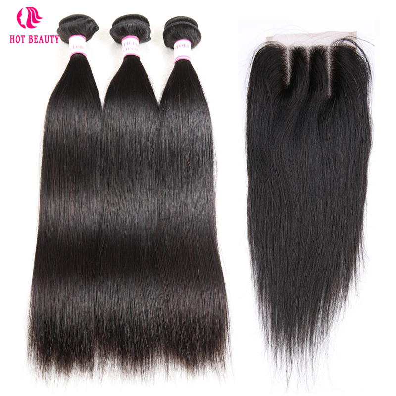 Hot Beauty Hair Peruvian Straight Human Hair Bundles With Lace Closure Three Middle Free Part Pre