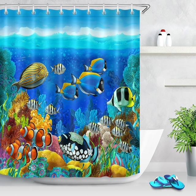 72 Colorful Coral And Fish Of Undersea World Bathroom Waterproof Fabric Shower Curtain Polyester