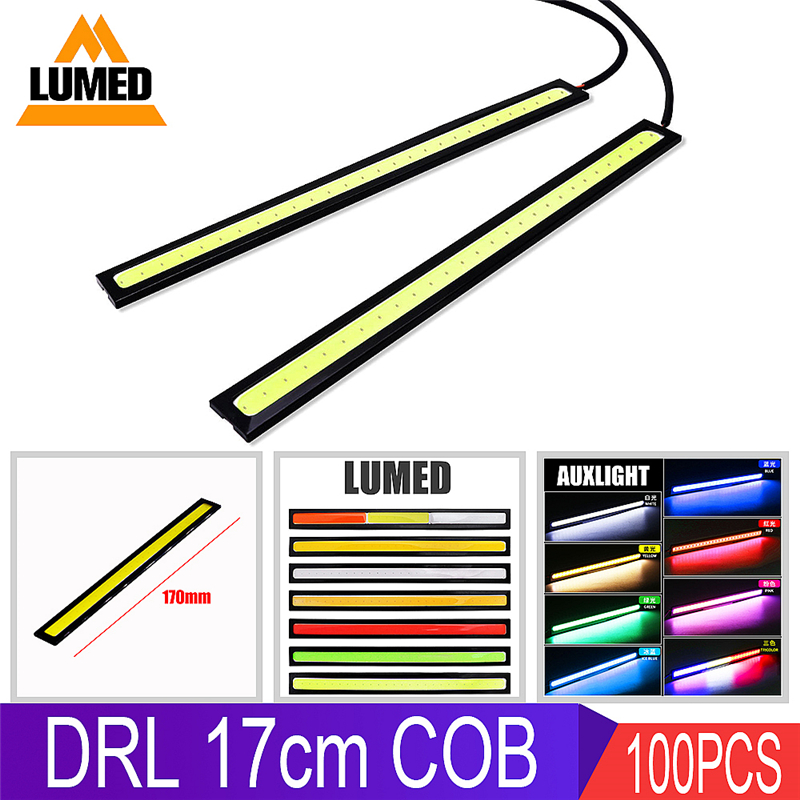 100X Car Light LED DRL 17cm COB Daytime Running Lamp Strip Bar Aluminum Stripes Panel Car