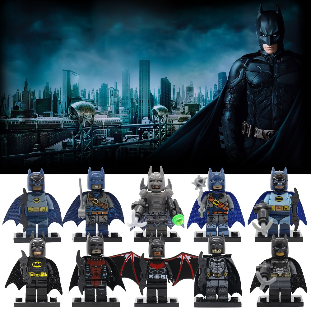 POGO Batman Superheroes Wholesale 20pcs/lot DIY Model Building Blocks Set Bricks Bat Colorful Suit Educational Toys For Children