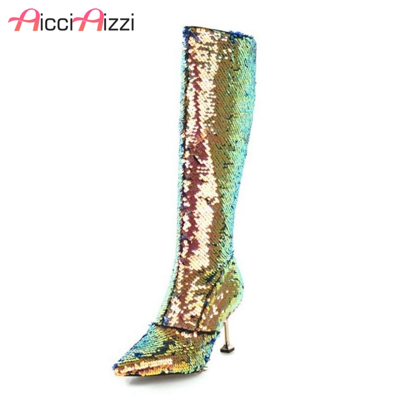 AicciAizzi 5 Color Women Plush Fur Boots Knee High Winter Warm Shoes Woman Sexy High Heel Boots Mixed Color Shoes Size 32-43AicciAizzi 5 Color Women Plush Fur Boots Knee High Winter Warm Shoes Woman Sexy High Heel Boots Mixed Color Shoes Size 32-43