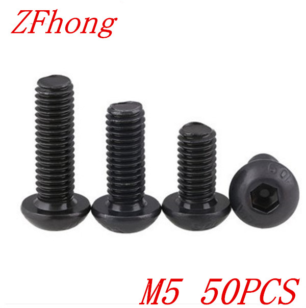 50pcs/Lot M5*8/10/12/16/20/25/30/35/40/45/50mm 10.9 Grade Black Button Head Hex Socket Cap Screws Bolts щебень фракция 20 40 мм 50 кг